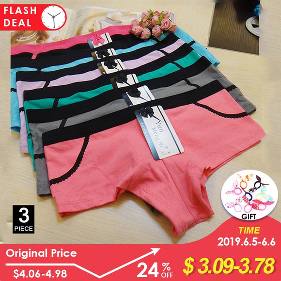 3 Pcs/lot Sexy Women's Panties Boxer Cotton Underpants Female Underwear Plus Size Ladies Shorts Kawaii Print Girls Boyshort - efair.co