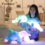 32cm/45cm Luminous Plush Dolphin Dolls Kawaii Light Up Dolphin Pillow Stuffed Toys Colorful Dolphin Plush Night Light Toy - efair Best spare parts online shopping website