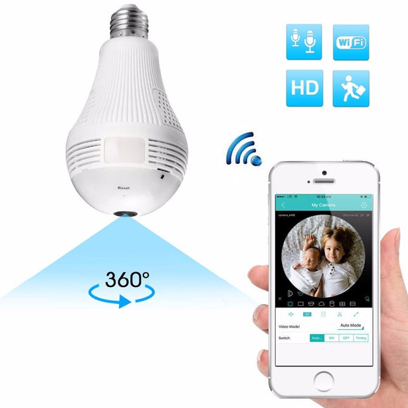 360 Degree Panorama 960P Mini Camera Wifi IP Light Bulb Cam CCTV Motion Sensor Night Vision for iPhone Xiaomi Android Espia - efair.co