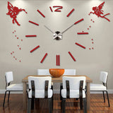 3D DIY Large Wall Clock Modern Design Angel Decorative Oversize Kitchen Clock Acrylic Mirror Wall Stickers Big Wall Clocks - efair Best spare parts online shopping website