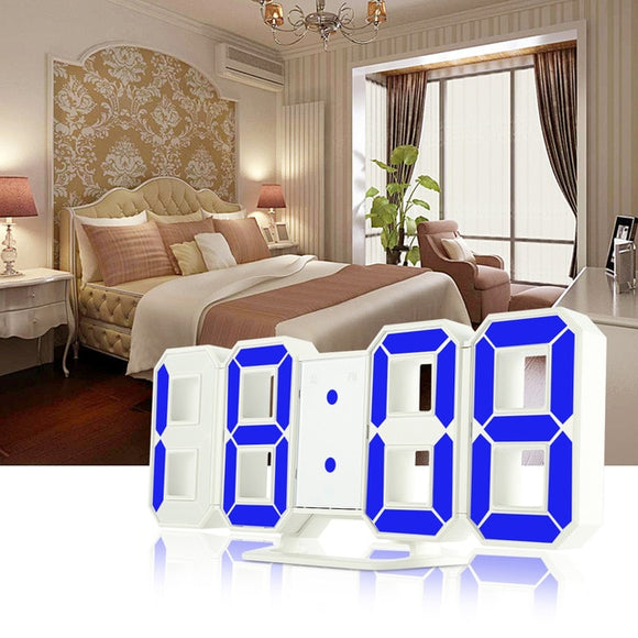 MartLion,3D LED Digital Wall Clocks 24/12 Hours Display 3 Brightness Levels Dimmable Nightlight Snooze Function for Home Kitchen Office