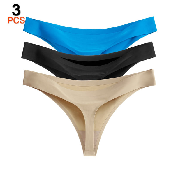 3PCS/Lot Sexy Women Thongs And G Strings Seamless Tangas Panties Low-Rise String Femme Solid Underwear Women Intimates Lingerie - efair.co