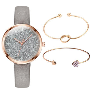 3PCS/SET Watch Bracelet Set Women Fashion Glitter Ladies Watch Women Watches Leather Women's Watches Clocks Gift zegarek damski - efair Best spare parts online shopping website