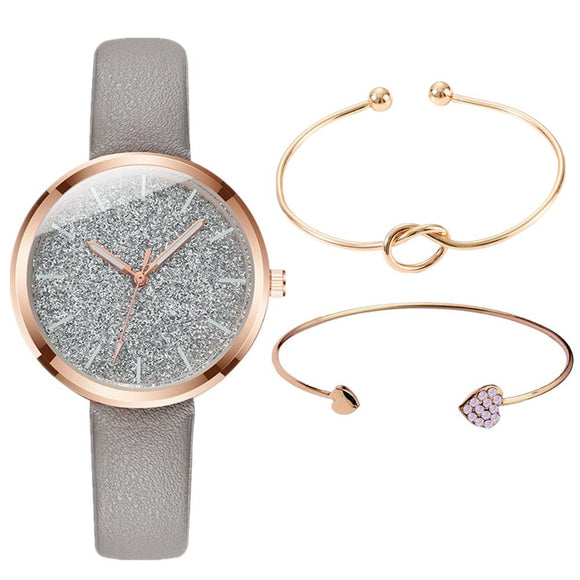 3PCS/SET Watch Bracelet Set Women Fashion Glitter Ladies Watch Women Watches Leather Women's Watches Clocks Gift zegarek damski - efair.co