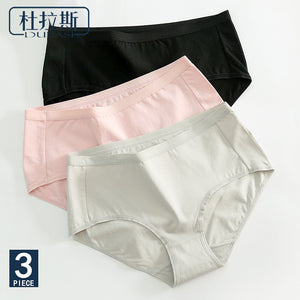 3pcs/Lot  Solid Cotton Panties Women Underwear Briefs Breathable for Girls Panty Lady Mid-Waist Seamless Underpants DULASI - efair Best spare parts online shopping website