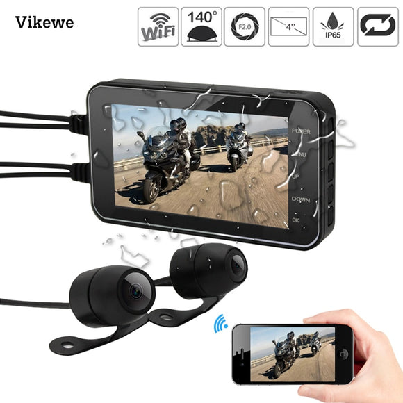 4 Inch Motorcycle DVR Wifi-Camera FHD 1080P Dash Cam Moto Waterproof Dual Lens Front Rear View Video Recorder 140 Degree Angle