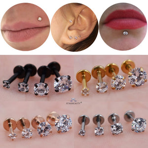 4pcs/lot 1.2x6mm Round Clear Stone Nose Piercing Labret Ear Helix Lip Piercing Flat Nose Ring Cartilage Tragus Pircing de Orelha - efair.co