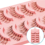 5 Pairs Natural Soft Brown Eye Lashes Makeup Handmade Thick Fake False Eyelashes Extension Natural Look Clear Band - efair Best spare parts online shopping website