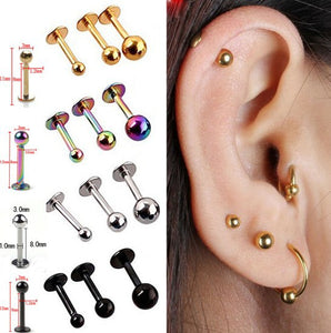 5Pcs/lot 16G 18G Tragus Helix Bar 3-4mm Ball Stainless Steel Labret Lip Bar Rings Stud Cartilage Ear Piercing Body Jewelry - efair.co