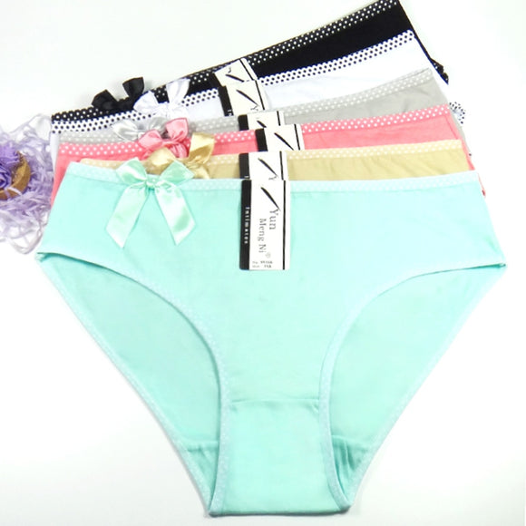 6 pcs/lot Big yards 2XL/3XL/4XL Women's panties Large size lady mum pants pure color cotton women's Free shipping - efair.co