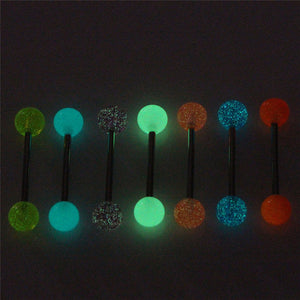 7PCS/Set Body Piercing Jewelry Luminous Glow Acrylic Tongue Rings Nose Barbell Bars - efair Best spare parts online shopping website
