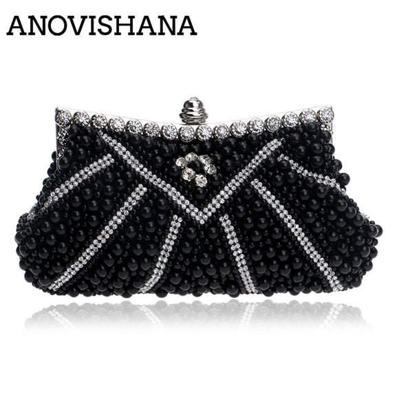 ANOVISHANA 100% Hand made New Beading Clutch bags Women Purse Diamond Chain Black Evening Bags for Party Wedding White Bolsa - efair Best spare parts online shopping website