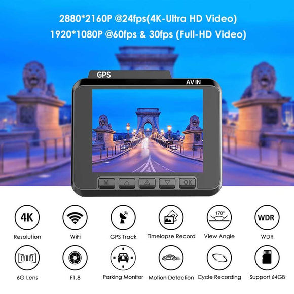 AZDOME M06 G-sensor 4K Ultra 2160P Wifi Dash Cam Dvrs Car Camera With WiFi/GPS Night Vision 24 Hours Parking Monitor