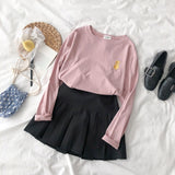Animal Embroidery Women T Shirt Long Sleeve Candy Kawaii Female Tee Shirts Tops - efair Best spare parts online shopping website