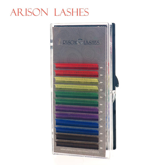 Arison 12Rows/Set 6 Colors Natural False Eyelash Extension Mixed Rainbow 0.1mm Color lash Makeup  free shipping - efair Best spare parts online shopping website
