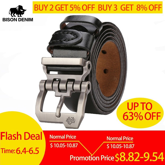 BISON DENIM Men Belt For Men Cowskin Genuine Leather Personality Men belt Buckle Quality Male Brown Strap Vintage Jeans N71223 - efair Best spare parts online shopping website