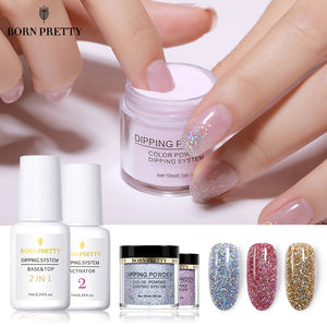 BORN PRETTY Dipping Nail Powders Base Coat Gradient French Nail Natural Color Holographic Glitter Cure Nail Art Decorations - efair Best spare parts online shopping website