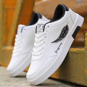 BORRUICE Men Shoes Spring Autumn Casual Leather Flat Shoes Lace-up Low Top White Male Sneakers tenis masculino adulto Shoes - efair Best spare parts online shopping website