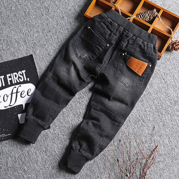 Baby Boy Denim Jeans Pants Spring Fall Children's Denim Trousers Kids Black Designed Pants Solid Toddler Leggings 2-8 Years - efair Best spare parts online shopping website