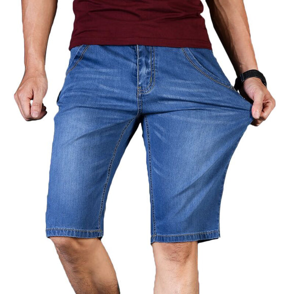 Big Size 40 42 44 46 2019 Summer New Men Business Denim Shorts Fashion Casual Stretch Slim Blue Short Jeans Male - efair.co