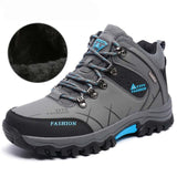 Big Size Men Snow Boots Warm Fur Big Size 39-47 Winter Men Leather Sneakers Lace Up Outdoor Mountain Aterproof Platform Shoes - efair.co