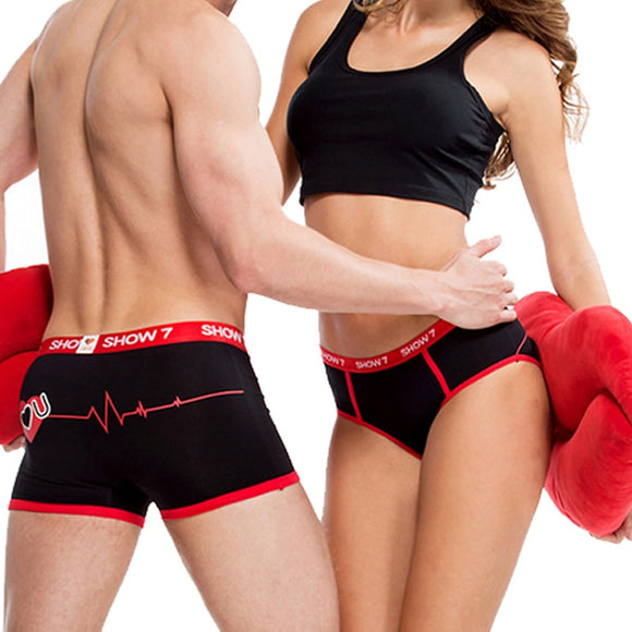 Black/White Couples Lovers Sexy Underwear Men Boxer Women Panties Breathable Printing Shorts Underwear Underpants Clothing - efair.co