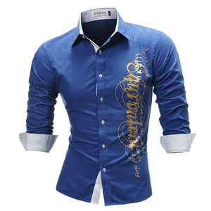 Brand 2018 Fashion Male Shirt Long-Sleeves Tops Letter Print Mens Dress Shirts Slim Men Shirt Plus Size 4XL - efair Best spare parts online shopping website