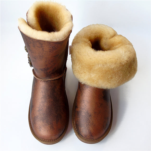 Brand women Sheepskin Boots Matel Button tassel Winter Wool Snow Boots Flat Waterproof Non-Slip Sheep Ladies Shoes - efair.co