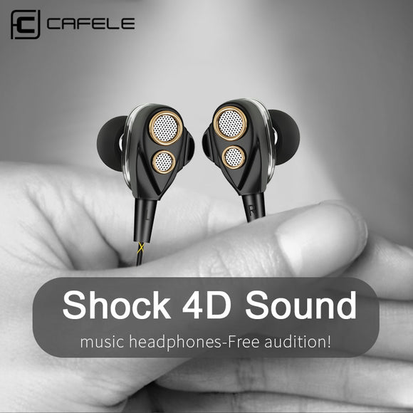 CAFELE 4D Professional Enthusiast In-Ear Wired Earphone Dual Dynamic Metal Heavy Bass High fidelity Sound Quality Music Earphone - efair Best spare parts online shopping website