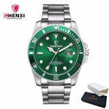 CHENXI Luxury Silver Men Dress Watches Green Color Stainless Steel Japan Movement Waterproof Casual Business Man's Wristwatch - efair.co