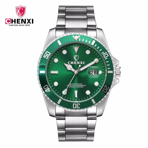 CHENXI Luxury Silver Men Dress Watches Green Color Stainless Steel Japan Movement Waterproof Casual Business Man's Wristwatch - efair Best spare parts online shopping website