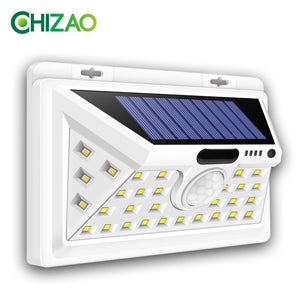 CHIZAO Solar Lights Outdoor Motion sensor Night security wall lamp 16 20 34 LED Waterproof Energy saving Garden Front door Yard - efair.co