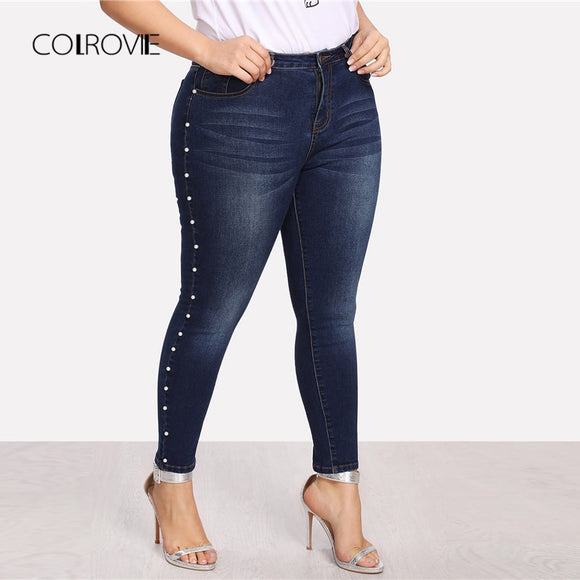 COLROVIE Plus Size Blue Pearls Beads Casual Denim Jeans Woman Autumn Vintage Pocket Skinny Women Jeans Femme Stretchy Pants - efair Best spare parts online shopping website