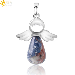 CSJA Natural Stone Angel Wings Pendant for Necklace Pink Quartz Onyx Silver-color  Water Drop Pendants Female Jewelry Gift E949 - efair Best spare parts online shopping website