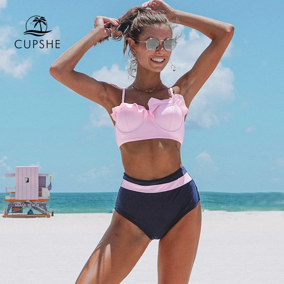 CUPSHE Pink Navy High-Waisted Push Up Bikini With Molded Cups Sexy Swimsuit Two Pieces Swimwear Women 2019 Beach Bathing Suit - efair.co