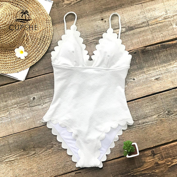 CUPSHE White One-Piece Scalloped Swimsuit Women Solid Tied Monokini Bathing Suits 2019 Girl Sexy Swimwear - efair Best spare parts online shopping website