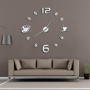 Cafe DIY Large Wall Clock Frameless Giant Wall Clock Modern Design Cafe Coffee Mug Coffee Bean Wall Decor Kitchen Wall Watch - efair.co