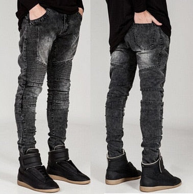 Casual Mens Jeans Hip hop Wrinkled Slim trousers male Washed Motorcycle jeans Casual Skinny elasticity Pencil pants 4 colors - efair.co