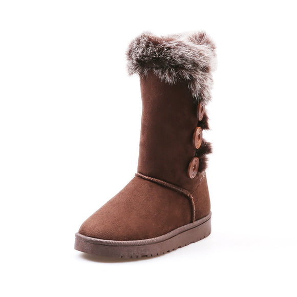 Classic Fashion Women Snow Boots Plush Ladies Shoes Female Faux Fur Warm Winter Boots Ugged Girls Student Shoes Big Size Botas - efair.co
