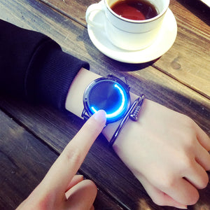 Creative Personality Minimalist Leather Normal Waterproof LED Watch Men And Women Couple Watch Smart Electronics Casual Watches - efair.co