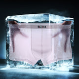 DANJIU New Men Solid Underwear Sexy Gay Men's Boxer Shorts Ice Silk Thin Breathable Male Underpants Low Waist Transparent Pant - efair Best spare parts online shopping website