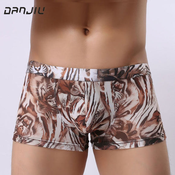 DANJIU Summer Leopard Sexy Gay Male Underwear Thin Breathable Man Boxer Shorts Camouflage Transparent Mens Low waist Underpants - efair.co