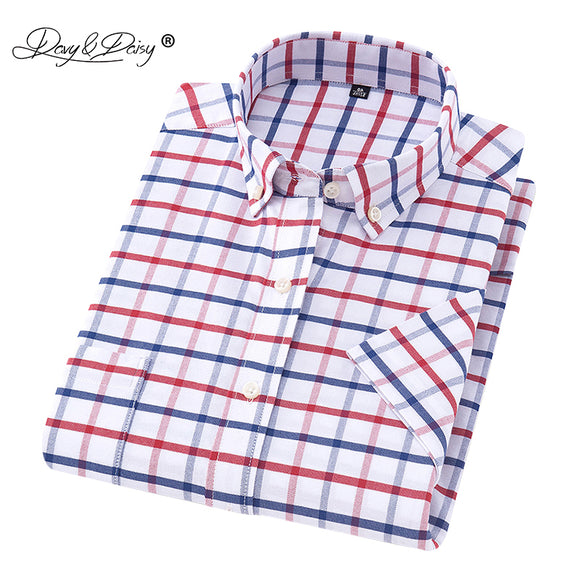 DAVYDAISY 2019 New Arrival Summer Men Shirt Short Sleeved Oxford Plaid Striped Man Shirts Formal Business camisa masculina DS254 - efair Best spare parts online shopping website
