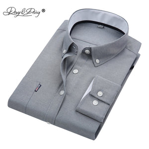 DAVYDAISY New Men Shirt High Quality Long Sleeved Oxford Designer Solid Male Formal Shirts Brand Clothing Casual Shirt Man DS015 - efair.co