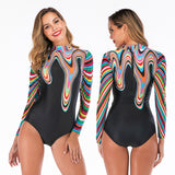 DROZENO  One Piece Swimsuit Long Sleeve Swimwear Women Sexy Bathing Suit Retro Swimsuit Vintage One-piece Surfing Swim Suits - efair Best spare parts online shopping website