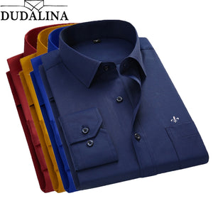 DUDALINA 2019 Men Shirt Plus Size Color Pocket Long Sleeved Classical Male Shirts Formal Business Shirt Man Embroidery Logo - efair Best spare parts online shopping website