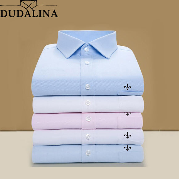 DUDALINA 2019 Men Shirt Plus Size Pocket Long Sleeved Classical Male Shirts Formal Business Shirt Man Embroidery Logo S-9XL - efair Best spare parts online shopping website