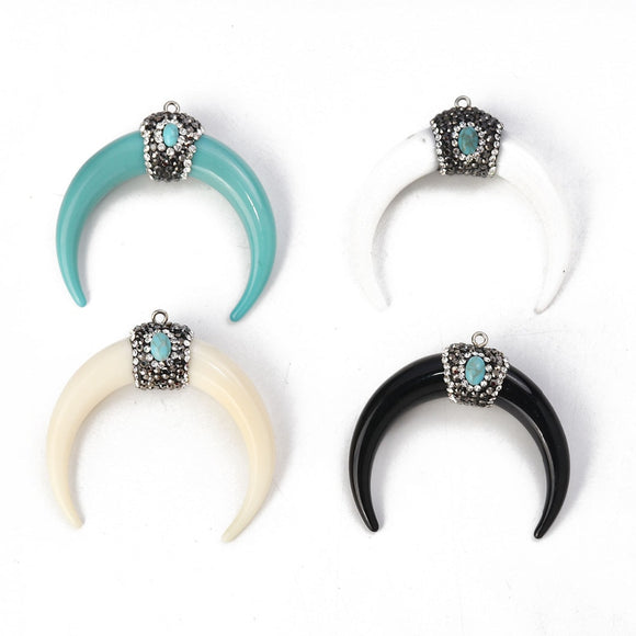 Doreen Box Resin Boho Chic Pendants Horn-shaped  Micro Pave Clear Rhinestone 5.4cm x5cm(2 1/8