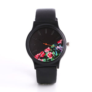 Dropshipping 2018 Flower Quartz Women Watch Fashion Elegant Black Leather Wrist Watch Female Ladies Hour Clock Relogio Feminino - efair.co