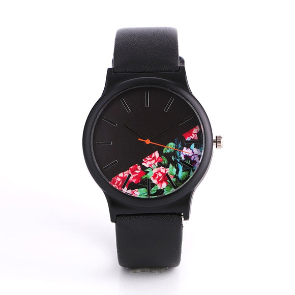 Dropshipping 2018 Flower Quartz Women Watch Fashion Elegant Black Leather Wrist Watch Female Ladies Hour Clock Relogio Feminino - efair Best spare parts online shopping website